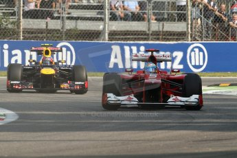 © 2012 Octane Photographic Ltd. Italian GP Monza - Friday 7th September 2012 - F1 Practice 1. Ferrari F2012 - Fernando Alonso and Red Bull RB8 - Mark Webber. Digital Ref : 0505lw7d5885