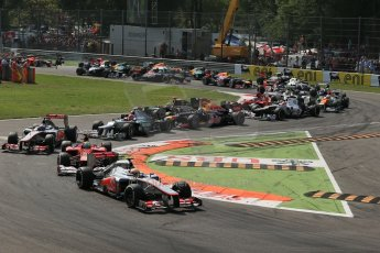 World © Octane Photographic Ltd. Formula 1 Italian GP, 9th September 2012. Lewis Hamilton leads the pack through turns 1 and 2 in his McLaren MP4/27. Digital Ref : 0518lw1d9088