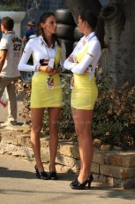 © 2012 Octane Photographic Ltd. Italian GP Monza - Friday 7th September 2012 - F1 Practice 2. The Agip pit girls relaxing. Digital Ref :