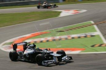 © 2012 Octane Photographic Ltd. Italian GP Monza - Friday 7th September 2012 - F1 Practice 2. Williams FW34 - Bruno Senna and Lotus E20 - Kimi Raikkonen. Digital Ref :