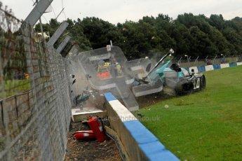 © Chris Enion/Octane Photographic Ltd 2012. FIA GT1 Championship, Donington Park, Sunday 30th September 2012. Nikolas Mayr-Melnhof crashes out at Hollywood on lap one in his Vita4One Racing Team BMW E89 Z4GT3. Digital Ref : 0534ce1d0141