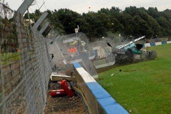 © Chris Enion/Octane Photographic Ltd 2012. FIA GT1 Championship, Donington Park, Sunday 30th September 2012. Nikolas Mayr-Melnhof crashes out at Hollywood on lap one in his Vita4One Racing Team BMW E89 Z4GT3. Digital Ref : 0534ce1d0142