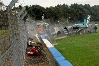 © Chris Enion/Octane Photographic Ltd 2012. FIA GT1 Championship, Donington Park, Sunday 30th September 2012. Nikolas Mayr-Melnhof crashes out at Hollywood on lap one in his Vita4One Racing Team BMW E89 Z4GT3. Digital Ref : 0534ce1d0144