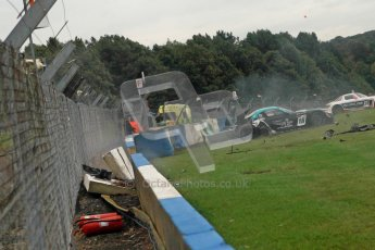 © Chris Enion/Octane Photographic Ltd 2012. FIA GT1 Championship, Donington Park, Sunday 30th September 2012. Nikolas Mayr-Melnhof crashes out at Hollywood on lap one in his Vita4One Racing Team BMW E89 Z4GT3. Digital Ref : 0534ce1d0157