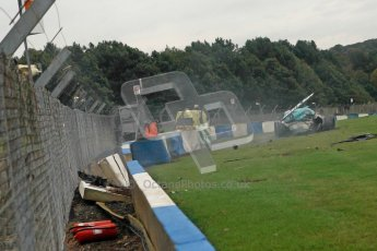 © Chris Enion/Octane Photographic Ltd 2012. FIA GT1 Championship, Donington Park, Sunday 30th September 2012. Nikolas Mayr-Melnhof crashes out at Hollywood on lap one in his Vita4One Racing Team BMW E89 Z4GT3. Digital Ref : 0534ce1d0161