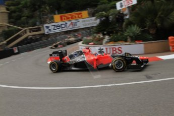 © Octane Photographic Ltd. 2012. F1 Monte Carlo - Practice 2. Thursday 24th May 2012. Timo Glock - Marussia. Digital Ref : 0352cb7d8048