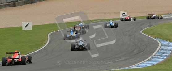 © Octane Photographic Ltd. 2012. Donington Park. Sunday 19th August 2012. Formula Renault BARC Race 2. The pack heads down the Craner Curves. Digital Ref : 0463lw1d3398