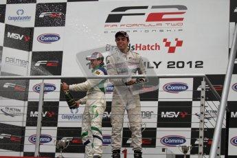 © Octane Photographic Ltd. 2012. FIA Formula 2 - Brands Hatch - Sunday 15th July 2012 - Race 2 - Mihai Marinescu and Dino Zamparelli. Digital Ref : 0408lw7d0168