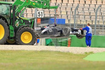 © 2012 Octane Photographic Ltd. German GP Hockenheim - Friday 20th July 2012 - F1 Practice 1. Williams FW34 - Valtteri Bottas' car is craned out of the gravel. Digital Ref : 0410lw7d4432