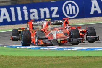 © 2012 Octane Photographic Ltd. German GP Hockenheim - Saturday 21st July 2012 - GP2 Race 1 - Luiz Razia and Max Chilton go wheel to wheel infront of Davide Valsecchi. Digital Ref : 0419lw1d4112