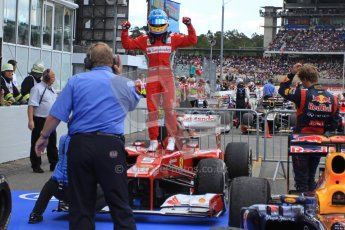 © 2012 Octane Photographic Ltd. German GP Hockenheim - Sunday 22nd July 2012 - F1 Podium - Fernando Alonso - Winner (Ferrari) celebrates after climbing out his car. Digital Ref : 0421lw7d6423