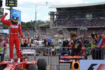 © 2012 Octane Photographic Ltd. German GP Hockenheim - Sunday 22nd July 2012 - F1 Podium - Fernando Alonso - Winner (Ferrari) celebrates after climbing out his car. Digital Ref : 0421lw7d6435