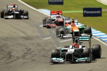 © 2012 Octane Photographic Ltd. German GP Hockenheim - Sunday 22nd July 2012 - F1 Race. Mercedes W03 - Michael Schumacher leads Nico Hulkenberg, Jenson Button and Pastor Maldonado. Digital Ref : 0423lw1d4943