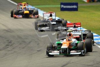 © 2012 Octane Photographic Ltd. German GP Hockenheim - Sunday 22nd July 2012 - F1 Race. Force India VJM05 -  Nico Hulkenberg, Jenson Button, Pastor Maldonado and Mark Webber into the hairpin. Digital Ref : 0423lw1d5021