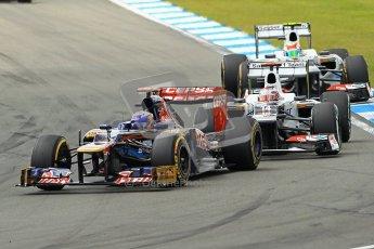 © 2012 Octane Photographic Ltd. German GP Hockenheim - Sunday 22nd July 2012 - F1 Race. Close fighting between the Toro Rosso STR7 of Daniel Ricciardo and the 2 Sauber C31s of Kamui Kobayashi and Sergio Perez. Digital Ref : 0423lw1d5035