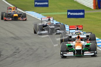 © 2012 Octane Photographic Ltd. German GP Hockenheim - Sunday 22nd July 2012 - F1 Race. Force India VJM05 -  Nico Hulkenberg, Jenson Button, Pastor Maldonado and Mark Webber into the hairpin. Digital Ref : 0423lw1d5073