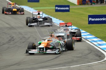 © 2012 Octane Photographic Ltd. German GP Hockenheim - Sunday 22nd July 2012 - F1 Race. Force India VJM05 -  Nico Hulkenberg, Jenson Button Pastor Maldonado and Mark Webber into the hairpin. Digital Ref : 0423lw1d5180