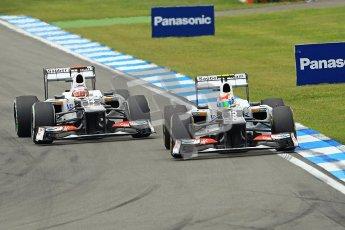 © 2012 Octane Photographic Ltd. German GP Hockenheim - Sunday 22nd July 2012 - F1 Race. The Sauber C31 of Sergio Perez dives around the outside of his team mate Kamui Kobayashi into the hairpin. Digital Ref : 0423lw1d5192