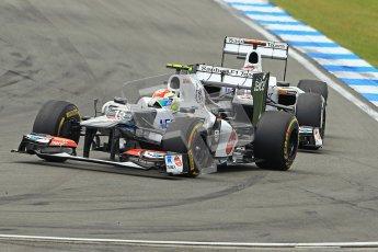 © 2012 Octane Photographic Ltd. German GP Hockenheim - Sunday 22nd July 2012 - F1 Race. The Sauber C31 of Sergio Perez overtakes his team mate Kamui Kobayashi into the hairpin. Digital Ref : 0423lw1d5196