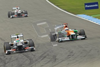© 2012 Octane Photographic Ltd. German GP Hockenheim - Sunday 22nd July 2012 - F1 Race. Sauber C31 - Sergio Perez eases past Paul di Resta. Digital Ref : 0423lw1d5266