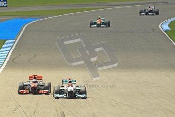 © 2012 Octane Photographic Ltd. German GP Hockenheim - Sunday 22nd July 2012 - F1 Race. McLaren MP4/27 - Jenson Button lines up Michael Schumacher's Mercedes. Digital Ref : 0423lw1d5320
