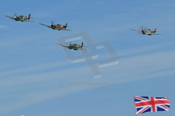 World © 2012 Octane Photographic Ltd. Goodwood Revival. September 15th 2012. Spitfire formation with Union flag. Digital Ref : 0521cb1d9729
