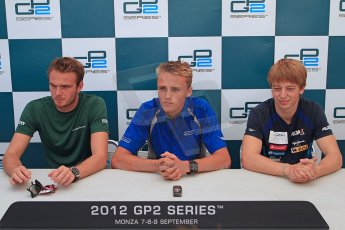 © 2012 Octane Photographic Ltd. Italian GP Monza - Friday 7th September 2012 - GP2 Qualifying Press Conference - Carlin - Max Chilton (1st), Caterham Racing - Giedo van der Garde (2nd) and Barwa Addax team - Johnny Cecotto (3rd but with 5 place penalty). Digital Ref : 0509cb7d2426