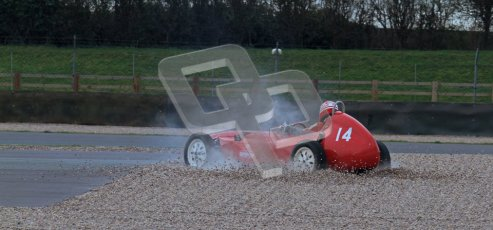 © Octane Photographic Ltd. HSCC Donington Park 17th March 2012. Historic Formula Junior Championship (Front engine). Crispian Besley - Elva 100. Digital ref : 0241lw7d5596