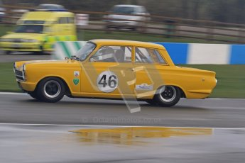 © Octane Photographic Ltd. HSCC Donington Park 18th March 2012. Historic Touring car Championship (over 1600cc). Dan Cox - Ford Lotus Cortina. Digital ref : 0249lw7d0168
