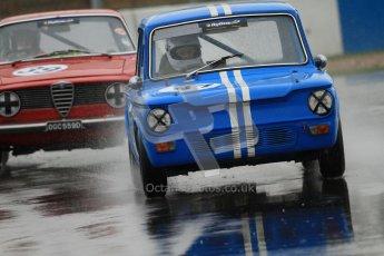 © Octane Photographic Ltd. HSCC Donington Park 18th May 2012. Historic Touring car Championship (up to 1600cc). Simon Benoy - Hillman Imp. Digital ref : 0246cb7d5592