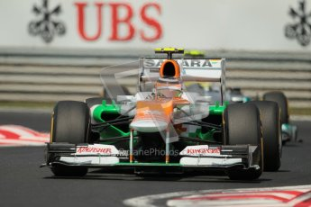 © 2012 Octane Photographic Ltd. Hungarian GP Hungaroring - Sunday 29th July 2012 - F1 Race. Force India VJM05 - Nico Hulkenberg and Mercedes W03 - Nico Rosberg. Digital Ref :