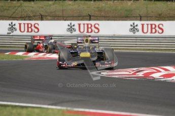 © 2012 Octane Photographic Ltd. Hungarian GP Hungaroring - Sunday 29th July 2012 - F1 Race. Red Bull RB8 - Sebastian Vettel and McLaren MP4/27 - Jenson Button. Digital Ref :