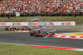 © 2012 Octane Photographic Ltd. Hungarian GP Hungaroring - Sunday 29th July 2012 - F1 Race. McLaren MP4/27 - Jenson Button, Sebastian Vettel, Kimi Raikkonen and Mark Webber. Digital Ref :