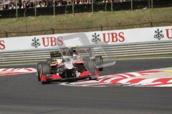 © 2012 Octane Photographic Ltd. Hungarian GP Hungaroring - Sunday 29th July 2012 - F1 Race. HRT F112 - Pedro de La Rosa and Narain Karthikeyan. Digital Ref :