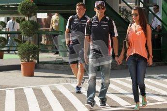 © 2012 Octane Photographic Ltd. Hungarian GP Hungaroring - Saturday 28th July 2012 - F1 Practice 3. Williams FW34 - Pastor Maldonado and Gabriella Tarkany. Digital Ref : 0429lw7d5911
