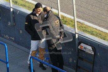 © 2012 Octane Photographic Ltd. Jerez Winter Test Day 1 - Tuesday 7th February 2012. HRT - Pedro de la Rosa on the pitwall. Digital Ref : 0217lw7d2989
