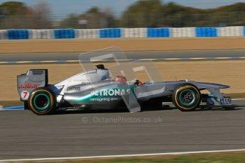 © 2012 Octane Photographic Ltd. Jerez Winter Test Day 1 - Tuesday 7th February 2012. Mercedes MGP W02 - Michael Schumacher. Digital Ref : 0217lw7d4844