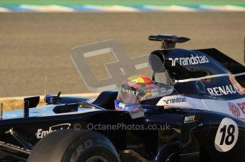 © 2012 Octane Photographic Ltd. Jerez Winter Test Day 2 - Wednesday 8th February 2012. Williams FW34 - Pastor Maldonado. Digital Ref : 0218lw1d5238