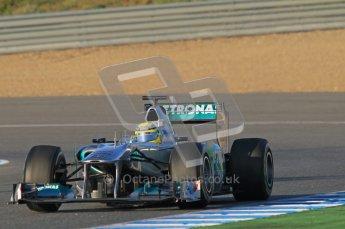 © 2012 Octane Photographic Ltd. Jerez Winter Test Day 3 - Thursday 9th February 2012. Mercedes MGP W02 - Nico Rosberg. Digital Ref : 0219lw1d6387