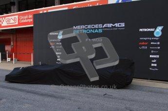 © 2012 Octane Photographic Ltd. Barcelona Winter Test 1 Day 1 - Tuesday 21st February 2012. Mercedes W03 Pit Lane Launch. Digital Ref : 0225lw7d4864