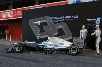 © 2012 Octane Photographic Ltd. Barcelona Winter Test 1 Day 1 - Tuesday 21st February 2012. Mercedes W03 Pit Lane Launch. Digital Ref : 0225lw7d4918
