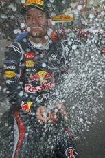 © Octane Photographic Ltd. 2012. F1 Monte Carlo - Race. Sunday 27th May 2012. Mark Webber - Red Bull sprays champagne over his pit crew. Digital Ref : 0357cb1d8069