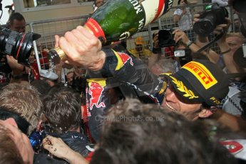 © Octane Photographic Ltd. 2012. F1 Monte Carlo - Race. Sunday 27th May 2012. Mark Webber celebrates with his Red Bull squad. Digital Ref : 0357cb1d8135