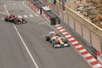 © Octane Photographic Ltd. 2012. F1 Monte Carlo - Race. Sunday 27th May 2012. Paul di Resta - Force India, Jean-Eric Vergne - Toro Rosso. Digital Ref : 0357cb7d0015