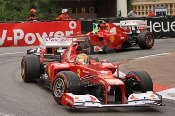 © Octane Photographic Ltd. 2012. F1 Monte Carlo - Race. Sunday 27th May 2012. Fernando Alonso and Felipe Massa at the Fairmont Hotel Hairpin - Ferrari. Digital Ref : 0357cb7d0126