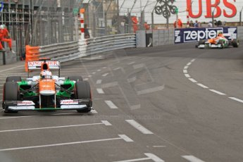 © Octane Photographic Ltd. 2012. F1 Monte Carlo - Race. Sunday 27th May 2012. Paul di Resta and Nico Hulkenberg - Fore India. Digital Ref : 0357cb7d0490