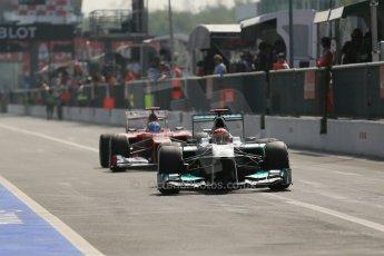 © 2012 Octane Photographic Ltd. Italian GP Monza - Saturday 8th September 2012 - F1 Qualifying. Mercedes W03 - Michael Schumacher and Ferrari F2012 - Fernando Alonso. Digital Ref :