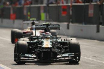 © 2012 Octane Photographic Ltd. Italian GP Monza - Saturday 8th September 2012 - F1 Qualifying. Caterham CT01 - Vitaly Petrov and HRT F112 - Narain Karthikeyan. Digital Ref :