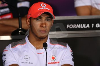 World © Octane Photographic Ltd. Formula 1 Italian GP, Press Conference 6th September 2012 - Lewis Hamilton - Vodafone McLaren Mercedes. Digital Ref : 0494lw7d5216