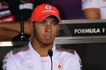 World © Octane Photographic Ltd. Formula 1 Italian GP, Press Conference 6th September 2012 - Lewis Hamilton - Vodafone McLaren Mercedes. Digital Ref : 0494lw7d5219